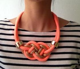 statement necklace with coral orange pink ,rope necklace, tie the knot necklace, nautical necklace, gift for her