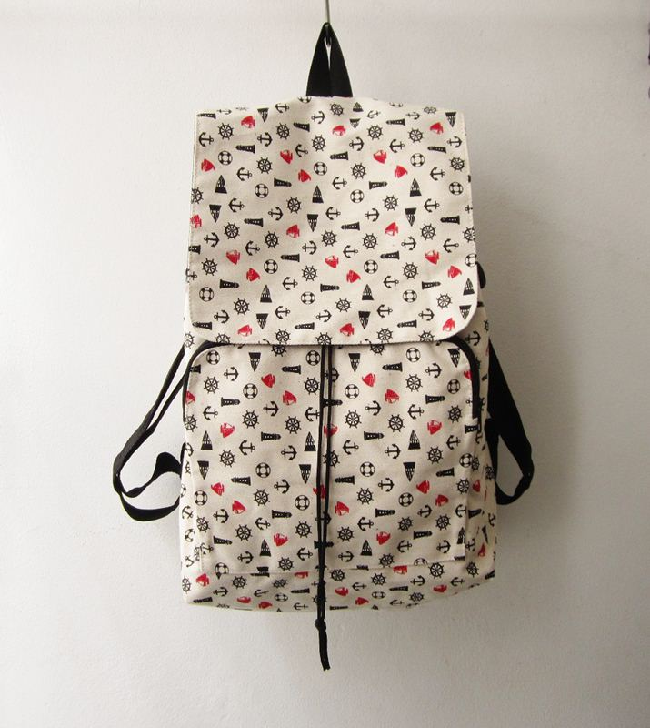 Anchor Backpack, Nautical Shoulder Rucksack ,canvas Backpack ...